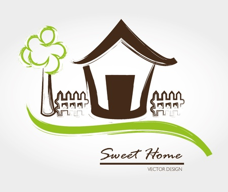 home sweet home: sweet home over gray background