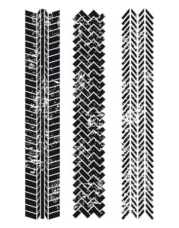 huellas de llantas: huellas de los neumáticos sobre el fondo blanco Vectores