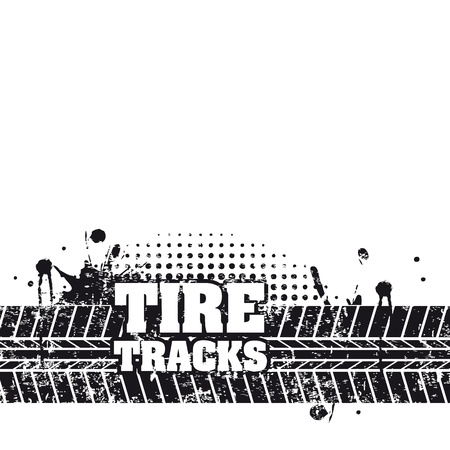 tire tracks over white background Stock Vector - 20961184