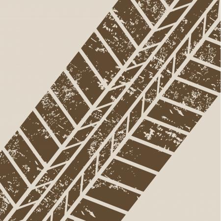 tire tracks over beige background Stock Vector - 20961185