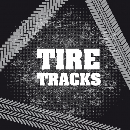 tire tracks over black background  Vector
