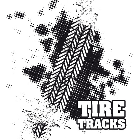 tires: tire tracks over white background