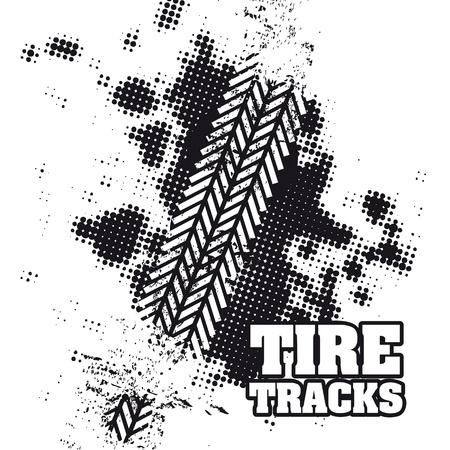 dirt track: tire tracks over white background