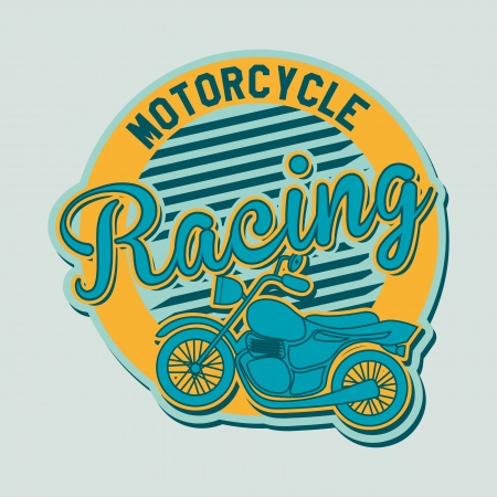motorcycle label over blue background Vector