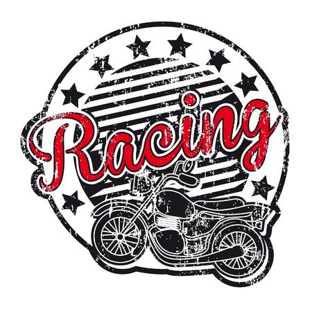 racing sign: motorcycle label over blue background  Illustration