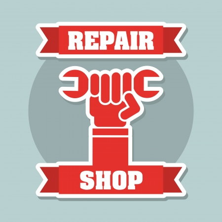 pits: repair shop over blue background