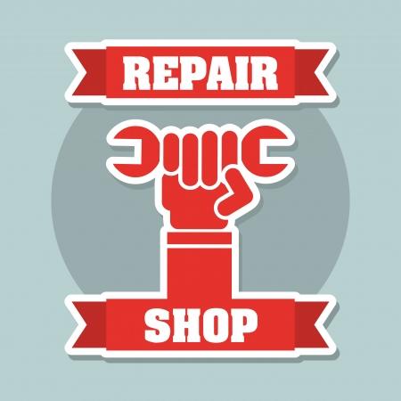 repair shop: taller de reparaci�n sobre fondo azul