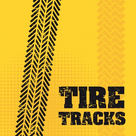 tire tracks over yellow background Stock Vector - 20961215