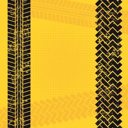traces pneus: des traces de pneus sur fond jaune