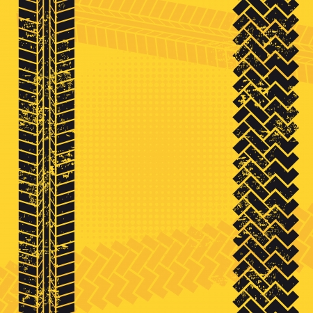 tire tracks over yellow background