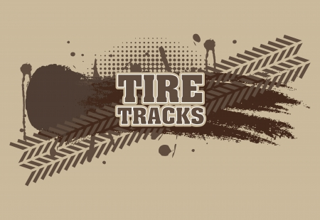 tire tracks over brown background Stock Vector - 20961221
