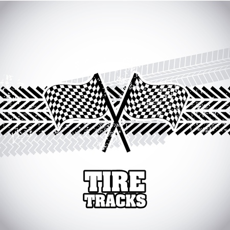 tire tracks over gray background Vector