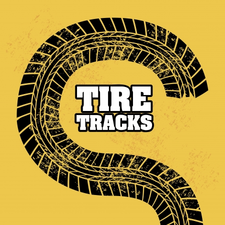 traction engine: tire tracks over orange background