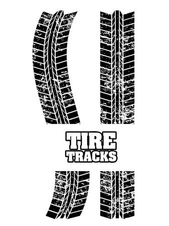 tire tracks over white background Stock Vector - 20961246
