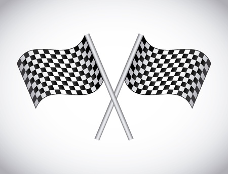 checkered flags over gray background Stock Vector - 20961247
