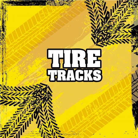 tire tracks over yellow background  Stock Vector - 20961251