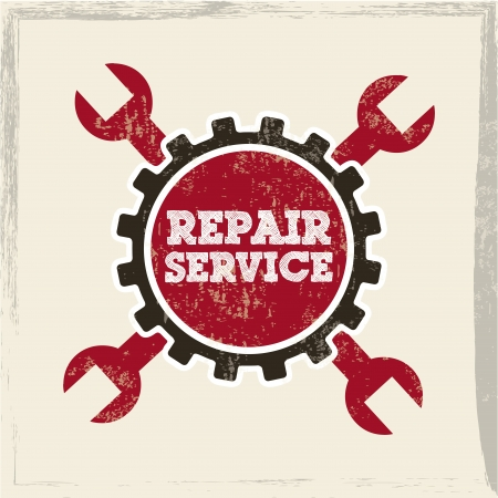 pits: repair service over white background