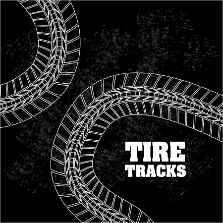 tire tracks over beige background  Stock Vector - 20961259