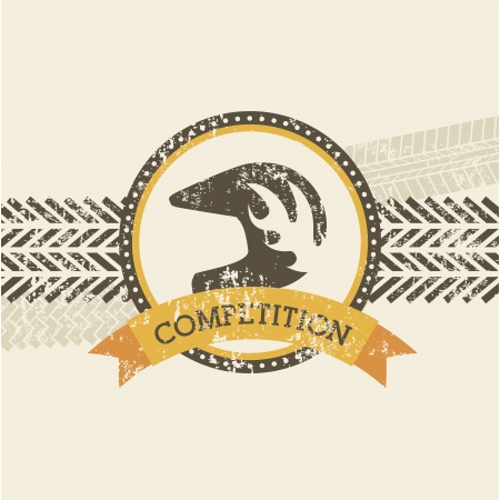 tire cover: competition design over pink background  Illustration