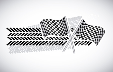 checkered flags over gray background