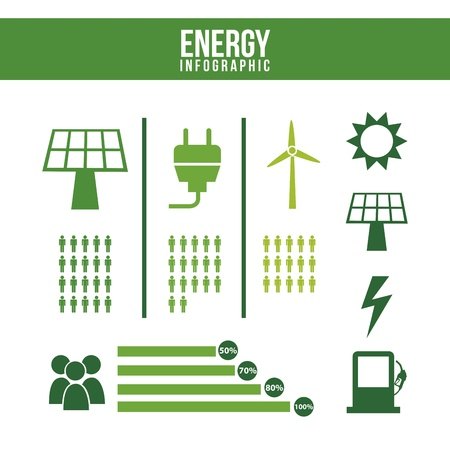 conection: energy infographics over white background