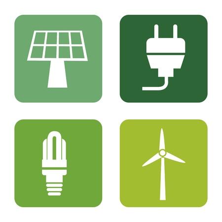 energy icons over white background