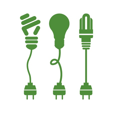 plug electric: bulbs energy over white background