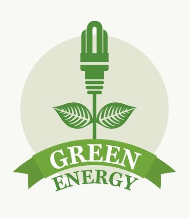 green energy over white background  Vector