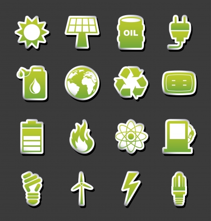 energy icons over black background  Vector