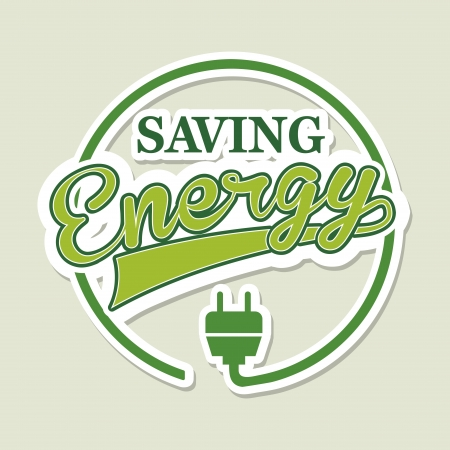 energy save: energy label over green background