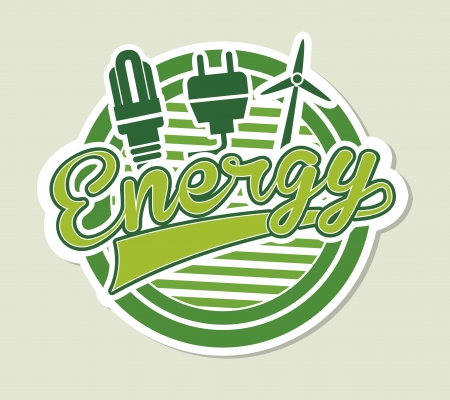 conection: energy label over green background