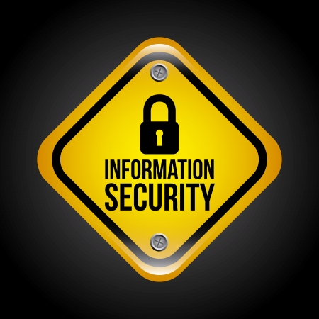dir: information security over black background vector illustration Illustration
