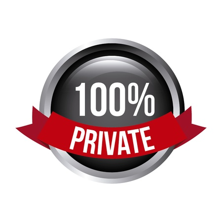dir: 100 percent private over white background vector illustration