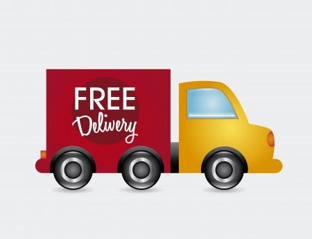 teherautók: ingyenes kiszállítással mint fehér háttér vektoros illusztráció