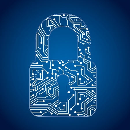 padlock circuit over blue background vector illustration