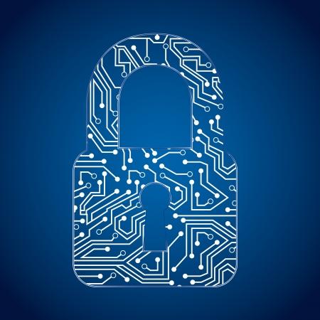 circuito di lucchetto su sfondo blu, illustrazione vettoriale