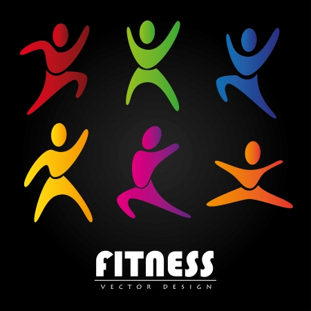 fitness design over black background illustration