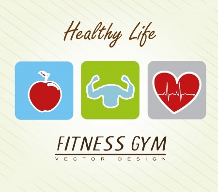 healthy life over lineal background illustration Stock Vector - 20982713