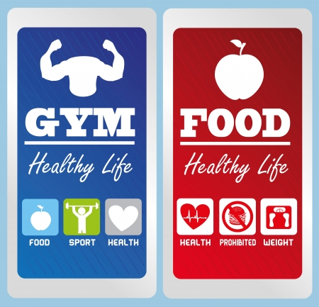 sportive: healthy life labels over blue background illustration