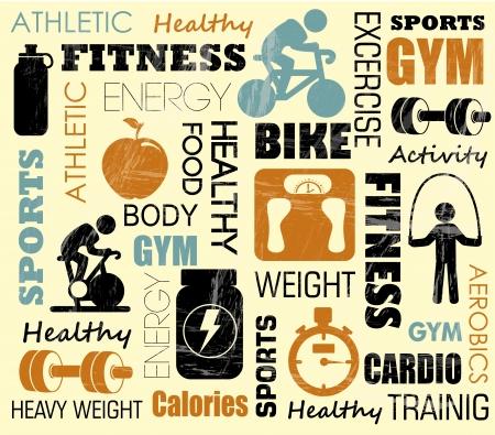 fitness patroon over roze achtergrond illustratie