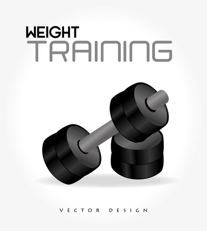 over weight: weight training  over white background illustration