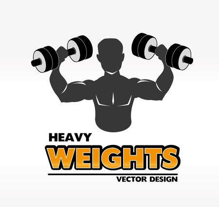 heavy weights over white background illustration Vector