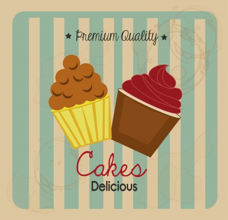 cakes delicious over grunge background illustration Stock Vector - 20982774