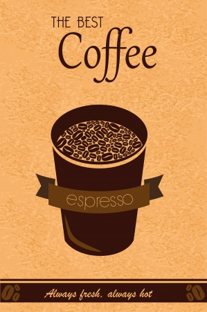 the best coffee over vintage background vector illustration