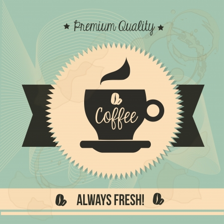 premium quality coffee over vintage background illustration