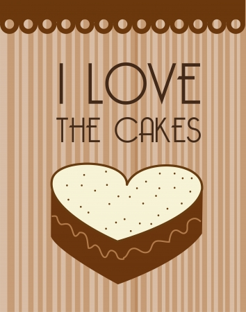 savoury: i love the cakes over lineal background illustration