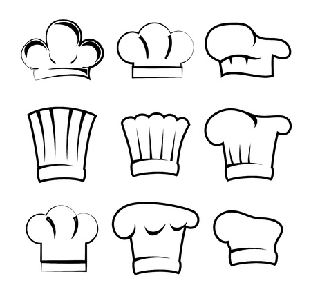 chef hats over white background illustration  Vector