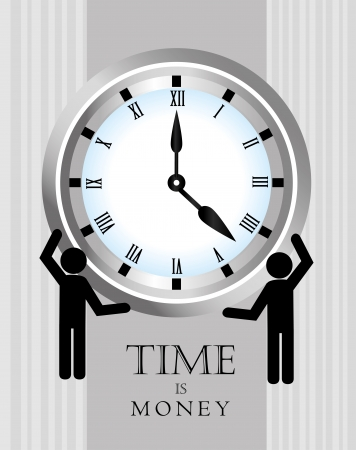 time is money over gray background illustration  Vector