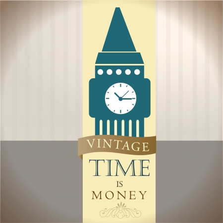 time is money over vintage background illustration  Vector