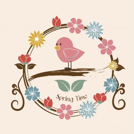 time over: spring time over pink background illustration